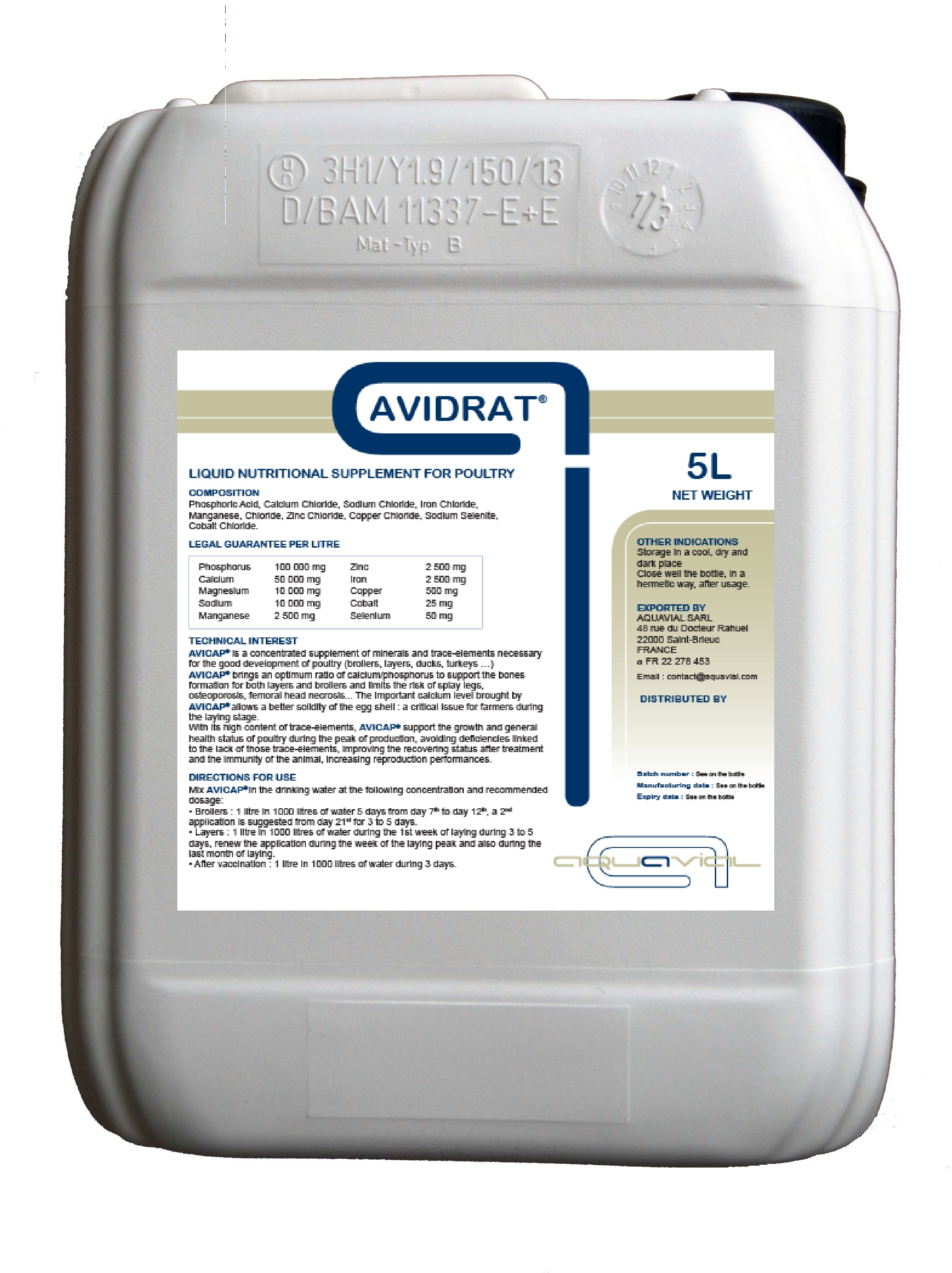 Avidrat - Aquavial liquid nutritional supplement for poultry