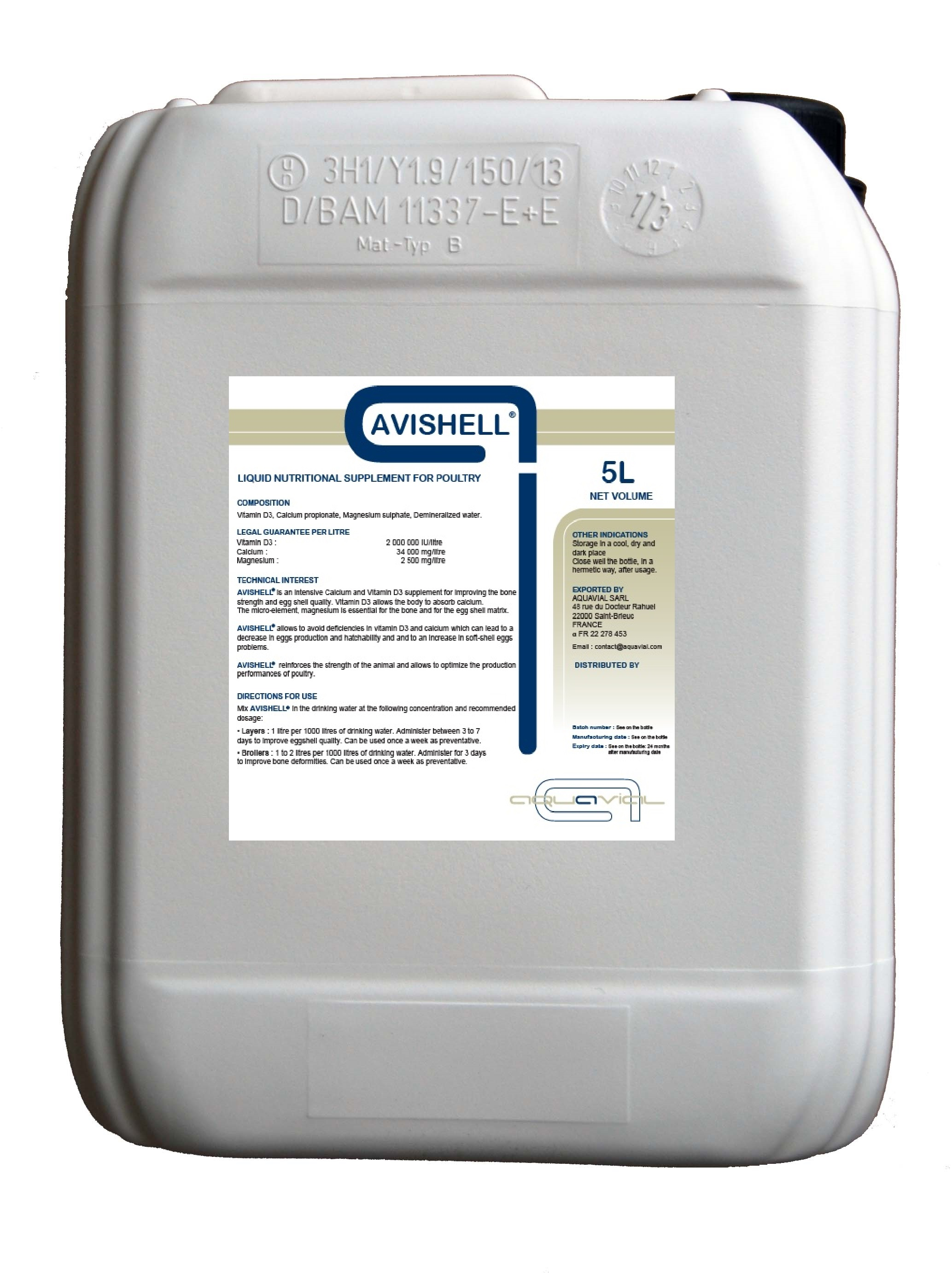 Avishell : Aquavial nutritional supplement for poultry